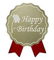 お誕生日シール(100枚入)50×40mm【1シート10枚×10シート】【日本製】【プラチナ色×赤リボン】バースデーシール