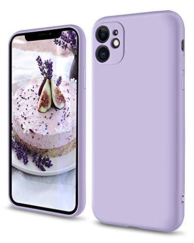 SouliGo iPhone 11 Hülle, iPhone 11 Handyhülle Silikon Gel Slim Hülle Cover Flüssigsilikon mit Innenfutter Mikrofaser Kratzfest Hülle für iPhone 11 (6.1 Zoll) Lila