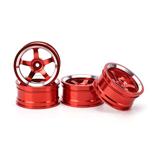 T best 4 Piezas de Cubo de Rueda de Coche RC, adaptadores de Cubo de transmisión de Rueda de aleación de Aluminio 1/10, Llantas Ajustadas para 94123 Tour Drift Car(Rojo)