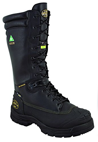 """Oliver 65 Series 14"""" Leather Puncture-Resistant Waterproof Men's Steel Toe Mining Boots with Metatarsal Guard, Black (65691), Size-9.5"""