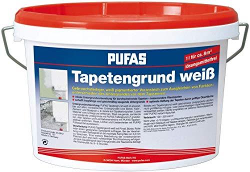 Pufas 12901000 TW8 Tapetengrund Tapetengrundierung, weiß, 2.5 Liter