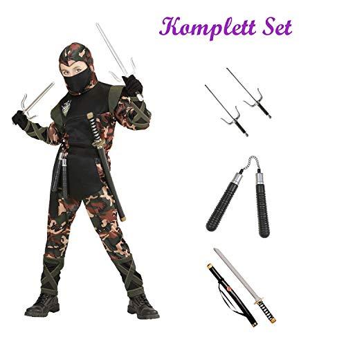 Kinder Karneval Soldat Ninja Kostüm Komplett Set / Coat mit Kapuze und Bänder, Hose mit Bändern, Gürtel & Mundschutz, Katana, Sai Gabeln, Nunchaku (134/140)