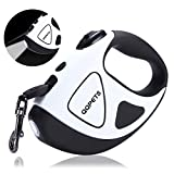 Retractable Dog Leash with Bright LED Flashlight, 16 ft Dog Safety Walking Leashes for Small Medium Large Dogs up to 110 lbs,Tangle Free, Anti-Slip Comfort Grip (Large- 16 ft up to 110 lbs, White)