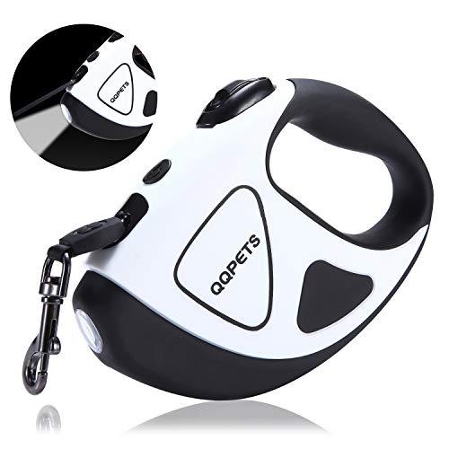 Readaeer Hundeleine automatische einziehbare Leine/Rollleine aus Nylon mit LED Taschenlampe für klein-mittel Haustier bis 50 KG (5M, Schwarz und Weiß)