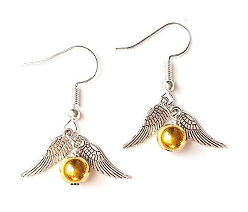 Ohrringe - Goldener Schnatz - Flügel - Harry Mage - Farbe Silber - Goldene Perle - Frau - Mädchen - Mädchen