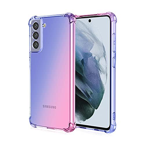 Funda para Samsung Galaxy S21 FE, RonRun Carcasa Ultra Fino Flexible Gradiente Transparente TPU Anti-arañazos Antigolpes Carcasa para Samsung Galaxy S21 FE Azul/Rosado