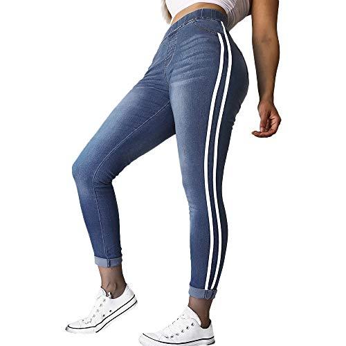 FRAUIT Herbst Damen Elastic Plus Jeanshose Enge Füße Lose Denim Ribbon Casual Jeans Weich und Kuschelig Overall Jogging - Freizeit Bequem Sport Jeanshose