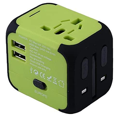 Adaptador de Viaje Cargador rápido por Todo el Mundo Ultra rápido del USB del Cargador del Enchufe Multifuncional Todo-en- con Doble USB Fusible de Seguridad Verde Negro