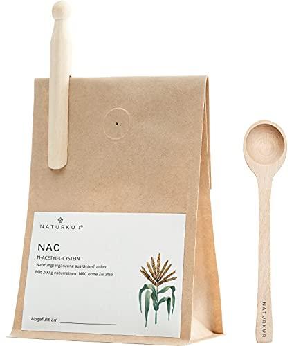 Naturkur® NAC N-Acetyl-L-Cystein - 200 g im lebensmittelechtem Beutel mit Frischhalteventil - Laborgeprüft, rein pflanzliche Fermentation, ohne Zusatzstoffe und sorgfältig hergestellt in Unterfranken