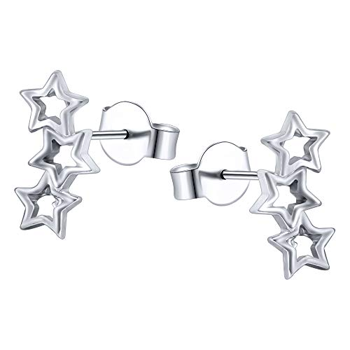 AoedeJ Pendientes de estrella Pendientes de plata esterlina con aretes de estrella Pendientes de escalador de oreja Pendientes de brazalete con orugas (Style 1)