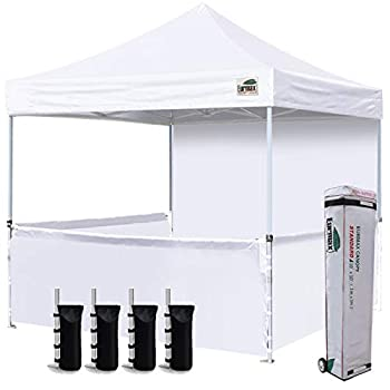 Eurmax 10 x10  Ez Pop-up Booth Canopy Tent Commercial Instant Canopies with 1 Full Sidewall & 3 Half Walls and Roller Bag with 4 SandBags + 3 Cross-Bar White