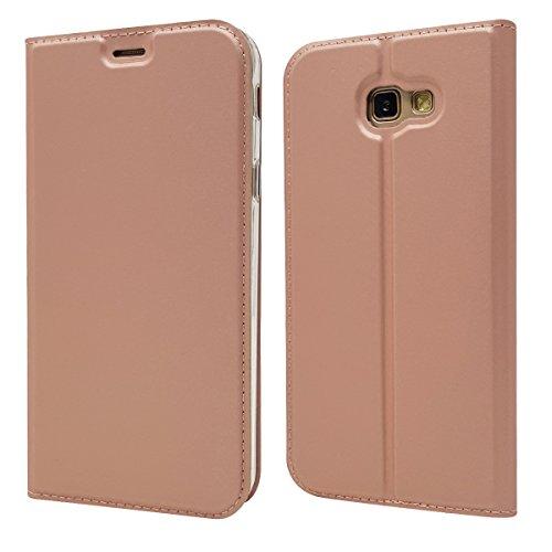 Copmob Funda Samsung Galaxy A7 2017,Ultradelgado Flip Libro Funda de Cuero PU,[Cierre Magnético][1 Ranura][Función de Soporte],Carcasa Case para Samsung Galaxy A7 2017 - Rosa