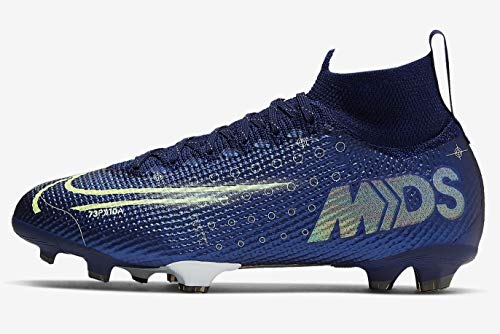 Nike Performance Mercurial Superfly 7 Elite MDS DF FG - Botas de fútbol para niños, color azul y amarillo, talla 38 EU - 5 UK