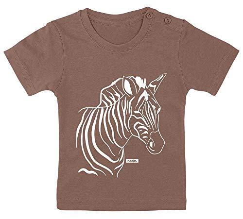 HARIZ Baby T-Shirt Zebra Tiere Kindergarten Plus Geschenkkarte Kacka Braun 9-15 Monate / 70-79cm