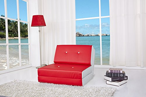 ARTDECO Schlafsessel Jugendsessel Gästebett Kindersessel Klappsessel Kunstleder rot-weiß klein