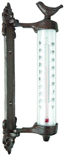 Esschert Design BR20 serie vogel muur thermometer in geschenkdoos, antiek bruin