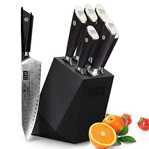 SHAN ZU Damastmesser Kochmesser Set Blocksets Messerblock Akazienholz Dreh Messerhalter 6 Slots für 5 Messer und 1 Messerschärferstahl
