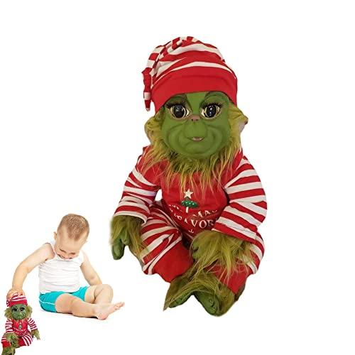 SITAILI Muñeco Grinch con Disfraz de Papá Noel extraíble, Lindo muñeco Grinch Peludo Verde navideño, muñeco de Peluche de Peluche, niños, decoración del hogar (Pijamas)