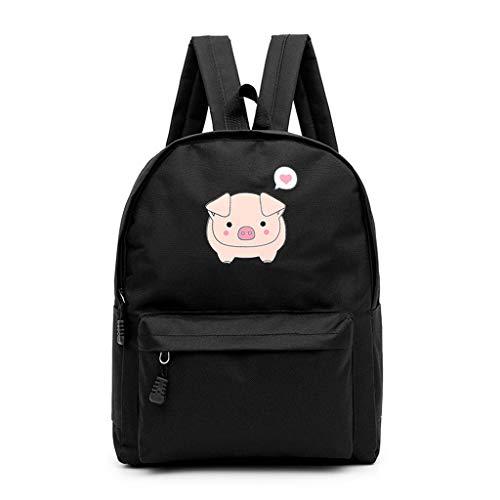 VECOLE Rucksäcke Damen Campus Student Tasche Reiserucksack Cartoon Schwein drucken Rucksack mit großer Kapazität Ultraleicht Faltbar Schulranzen Outdoor-Shopping Reiserucksack(Schwarz)