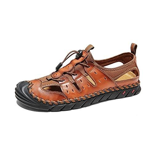 Sandales pour hommes Coupe Des Hommes Sandale Véritable Cuir Véritable Bungee Dentelle De Lacets En Acier Près Des Chaussures À Bout De Poignée De Tirage Souple Souple Sandales Flexibles De Plage Flex