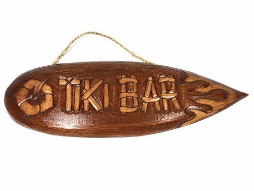 Norma Lily Tiki Sign - Tabla de surf de hibisco y llama, 50,8 cm, decoración de bar Tiki