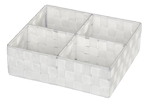 WENKO 20983100 Organizer Adria Quadro Weiß - 4 Fächer, 100 % Polypropylen, 32 x 10 x 27 cm, Weiß