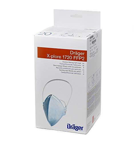 Dräger X-plore 1720 FFP2 Nr D ohne Ventil - Dekra - 20 Stück Atemschutzmaske Set - Partikelschutzmaske - Maske Schutzstufe FFP2 Halbmaske