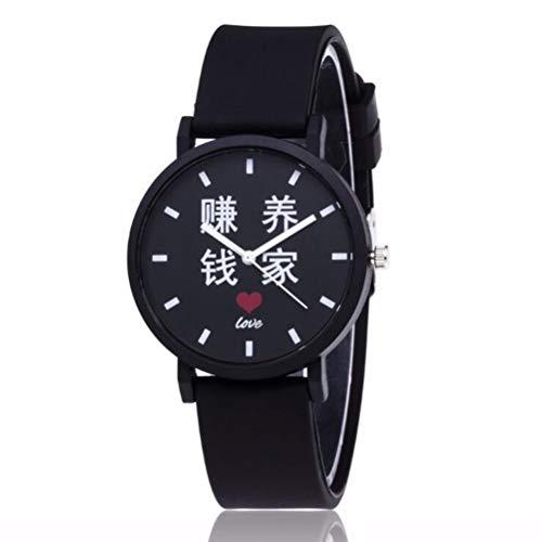 Gskj Quartz Horloge Mode Casual Horloge Zwart Chinees Lederen Band Horloge Geschikt voor Mannen Vrouwen
