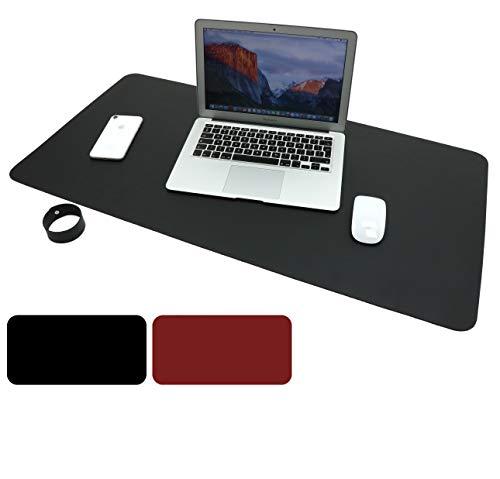 Schreibtischunterlage, Gaming Mauspad 90cm x 45cm PU-Leder Tischunterlage, Laptop Tischunterlage, wasserdichte Schreibunterlage für Büro- oder Heimbereich (Schwarz Rot)