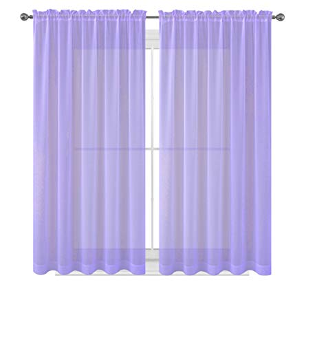 Drape/Panels/Scarves/Treatment Beautiful Sheer Voile Window Elegance Curtains Scarf for Bedroom & Kitchen Fully Stitched and Hemmed, Set of 2 Lavender Lilac Purple (Lavender, 63