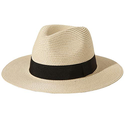 Lanzom Men Wide Brim Straw Foldable Roll up Hat Fedora Summer Beach Sun Hat UPF50+ (A-Beige, Large Size:Fit for 23'-23.6')