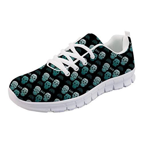 HUGS IDEA Tenis de correr para mujer con diseño de calavera floral, ligeros y flexibles., color Negro, talla 41 EU