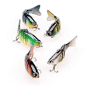 pheanto Bass Rattle Lure Shallow Deep Diving Crankbait Fishing Wobble Hard Bait Swimbait 3D Eyes for Trout,PTCS-7