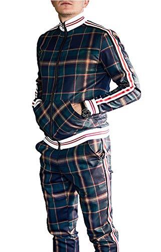 HUSHION Traje de los Hombres Juego de Cuadros con Cremallera Stripte Sportswear Traje Jogging Bottom Chaqueta Deporte Soporte Collar Green-XXL