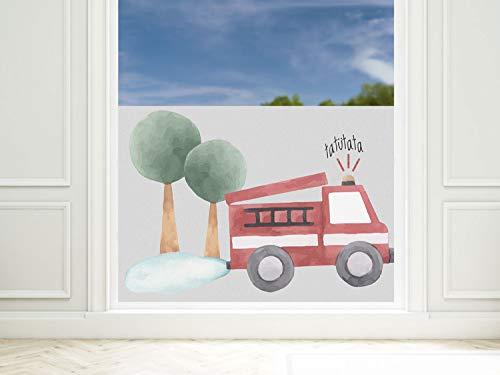GRAZDesign Fensterfolie Kinderzimmer Feuerwehr Auto, Sichtschutzfolie Blickdicht, Milchglasfolie, 57cm hoch / 80x57cm