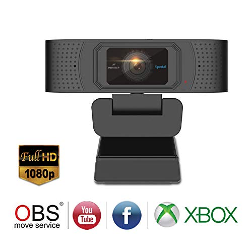 Spedal Full HD PRO Webcam 1080p, Privacy Shutter, 2 Microfoni, Autofocus Live Streaming PC Camera con Microfono, Webcam USB per Xbox OBS XSplit Facebook Skype, Compatibile per Mac OS Windows 10/8/7