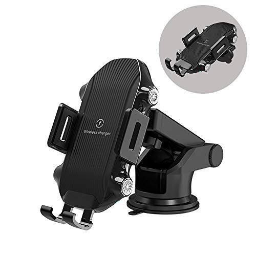 TIMESS Wireless Charger car Mount,10W Auto Sensing Clamping Car Mount Windshield Dashboard Air Vent Phone Holde Compatible with iPhone Xs/Xs Max/XR/X/ 8/8 Plus, Samsung S10/S10+/S9/S9+/S8/S8+