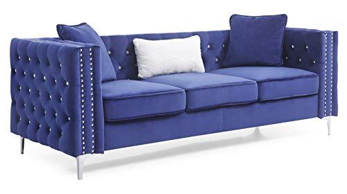 Glory Furniture Paige Sofa, Blue. Living Room Furniture, 30' H x 86' W x 34' D