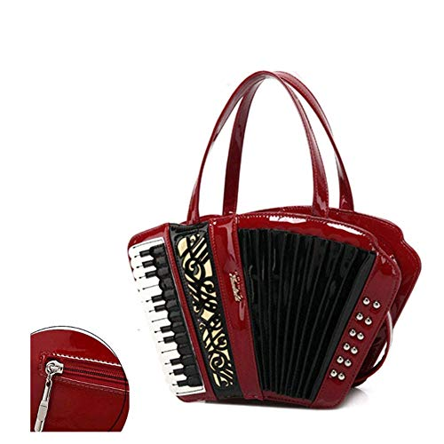 AAFLY Frau Retro-Kreuz-Leichensack, Vintage Mode-Lederhandtasche Akkordeon-Art-Leder-Handtasche Schultertasche Messenger Bag Handtasche für Damen Musik Umhängetasche