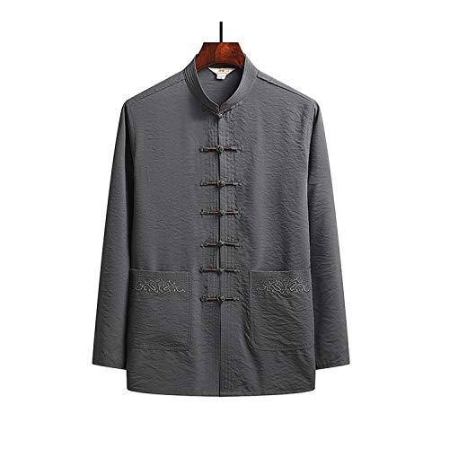 KSGH Traje de uniforme de Tang para hombre, chaqueta de artes marciales, manga larga, camisa de uniforme de Tai Chi, algodón chino tradicional Kung Fu ropa de entrenamiento