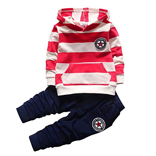 BibiCola Baby Boy Clothes Set Kids Clothing Boys Stripe Hoodies+Long Pants 2PCS Outfits Set Toddler Baby Boys Outfit Red