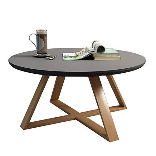 QULONG Runde Schlafzimmer Kleine Couchtisch Einfach Wohnzimmer Kreative Massivholz Beistelltisch Büro Magazin Tisch Teetisch Stilvoll Und Haltbar,Grau,70x45cm