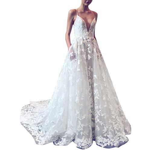 Vestidos Tirantes Encaje Mujer Larga Blanco,Vestido de cóctel de Dama de Honor de Novia Vestidos de Novia Sencillos Vestidos de Moda Vestidos para IR a una Boda