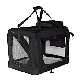Fauna Dog Puppy Lightweight Grey Travel Crate Portable Folding Pet Car Cage Kennel Carrier