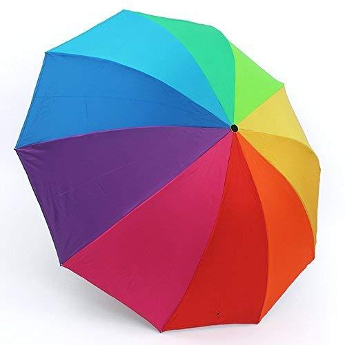 GFF Sasan Regenschirm Sonnenschutz Fallschirm Regenbogen Regenschirm Sonnenschutz UV Falten schwarzer Kleber Regenschirm, Regenbogen Doppel