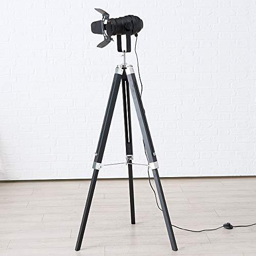 Immo Stativleuchte Stehlampe Stativlampe Stehleuchte H145cm schwarz Studio Set Holz Stativ Lampe Teleskop Teleskoplampe Tripod Blende