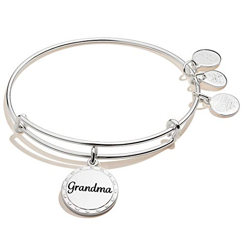 Alex and Ani Because I Love You Grandma Expandable Wire Bangle Bracelet for Women, Wise and Warm Charm, Shiny Antique Silver Finish, 2 to 3.5 in