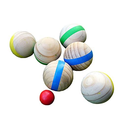BESPORTBLE 7 Pzas Bocce Ball Bola de Madera Bocce Ball Estilo Francés Bocce Juego Familiar Aire Libre para Patio Trasero Césped Playa Niños Deportes Color Azar