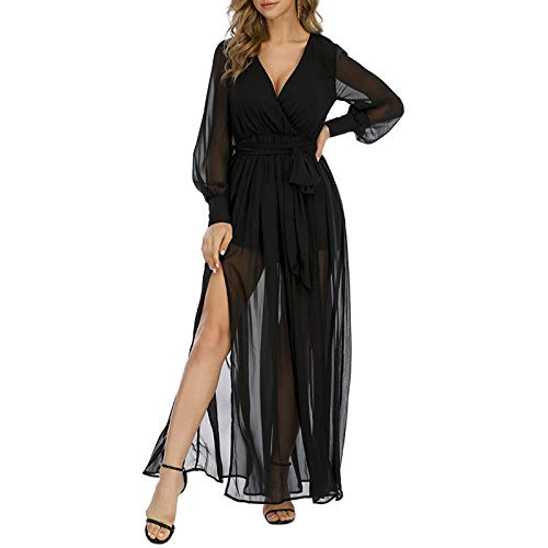 YANFANG Vestido Largo de Cintura Alta para Mujer,con Cuello en V y Manga abullonada de Boho Vintage para Mujer Vestido Largo Elegante, Black,XL
