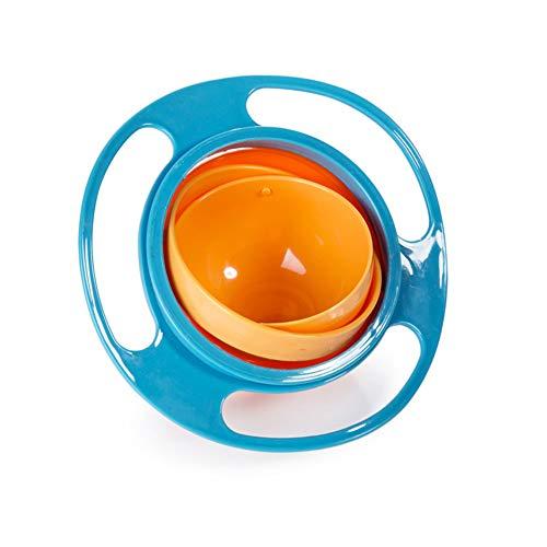 Egurs 360 Dgree Rotation Spill Resistant Gyro-Schüssel mit Deckel Futternapf Futternapf für Kinder Kleinkinder blau